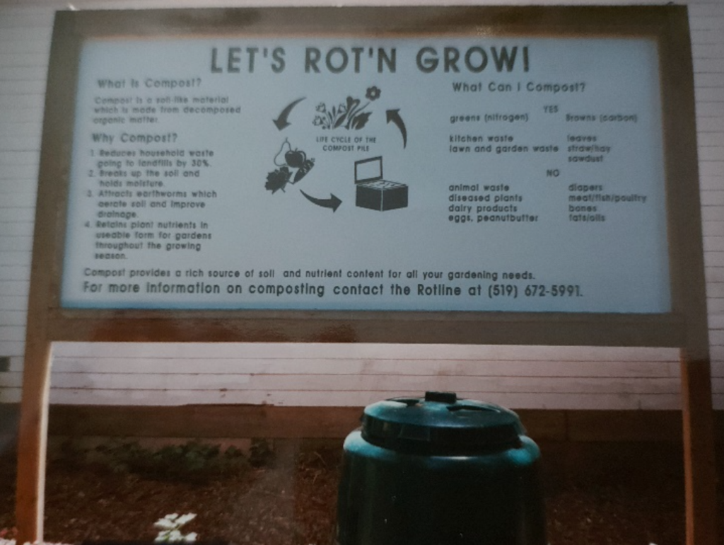 Grosvenor Lodge Gardens - Instructional display for how to compost garden waste and create nutrient rich soil