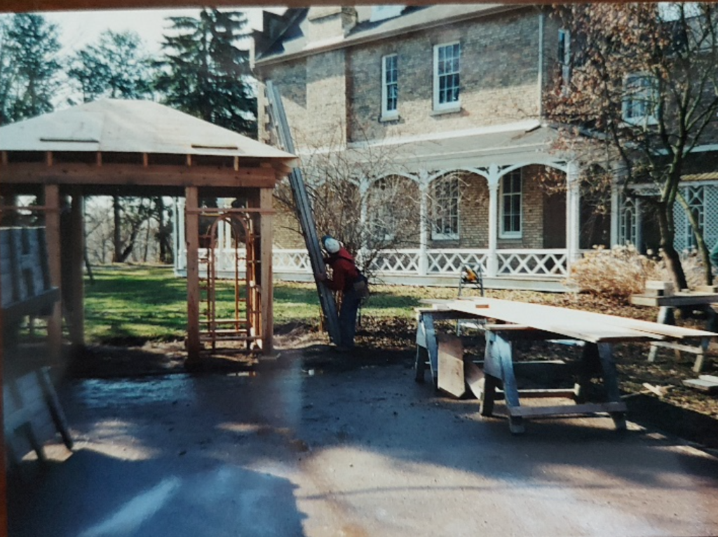 Above photo taken in 2001 of construction of arbor at Grosvenor Lodge.